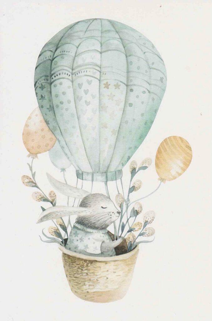 気球に乗っているうさぎ