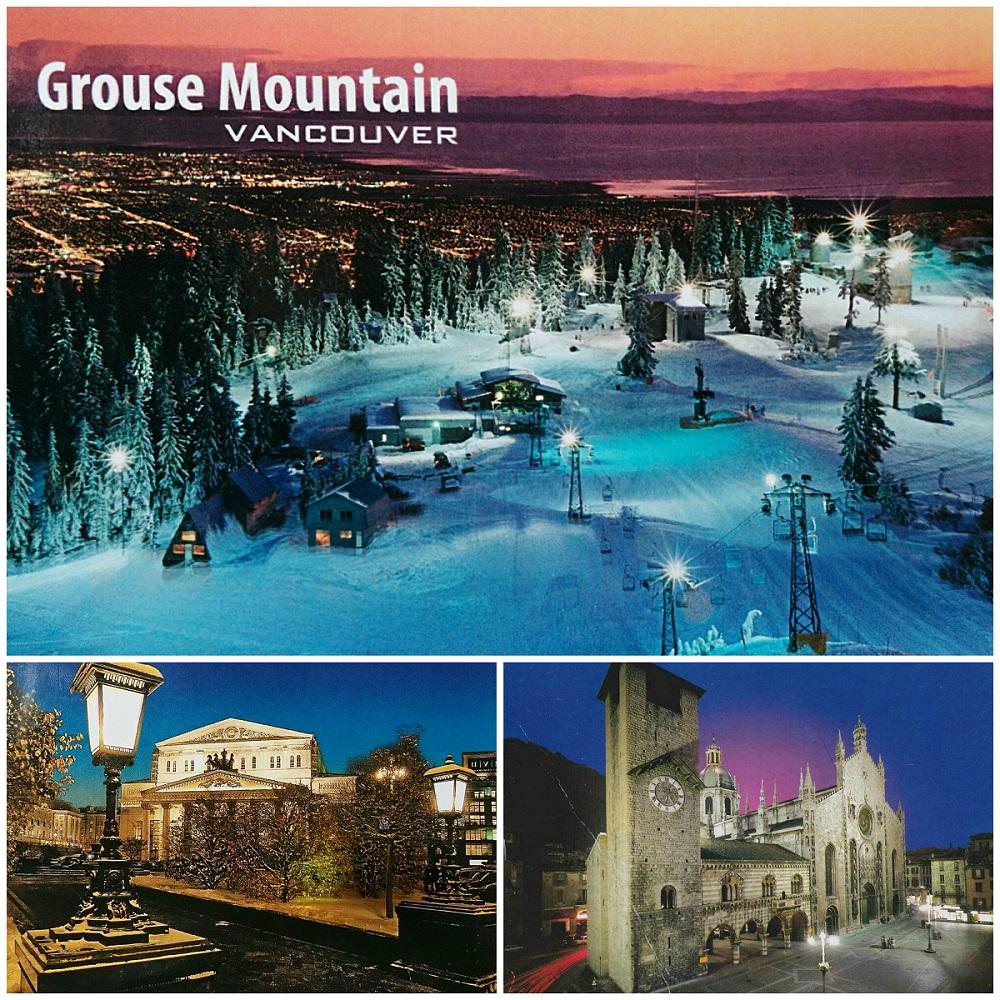 お気に入りの夜景とカナダのスキー場のハガキ