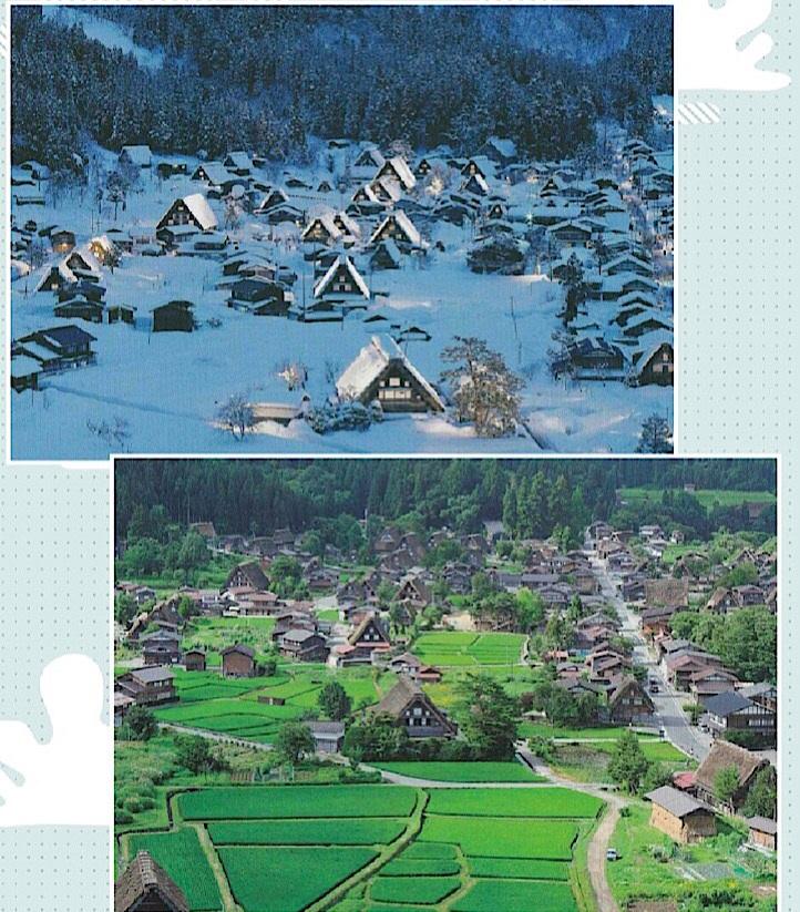 夏と冬の白川郷の景色