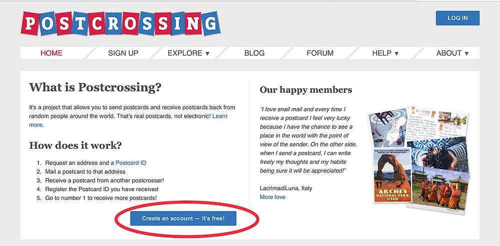 ポストクロッシングのホームページ